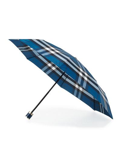 Trafalgar Packable Check Umbrella, Marine Blue