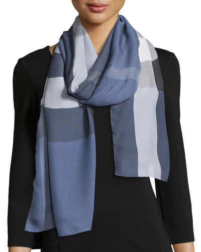 Oblong Silk Mega Check Scarf, Blue
