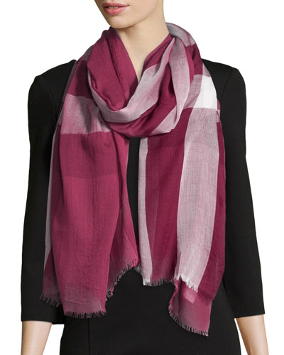 Woven Mega Check Scarf, Red/Pink