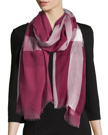 Burberry Woven Mega Check Scarf, Red/Pink