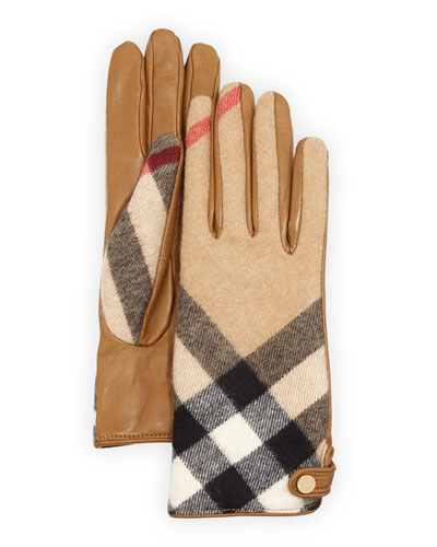 Charlotte Check Cashmere & Leather Gloves, Camel