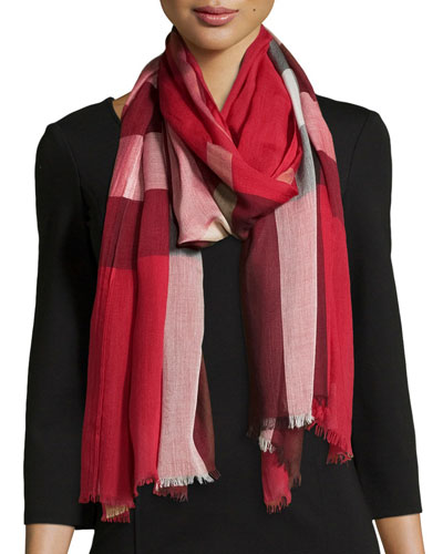 Sheer Mega Check Woven Scarf, Red