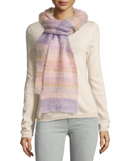 Striped Shaker Scarf, Thistle