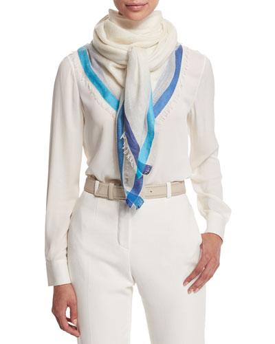 Soffio Rain Cashmere/Silk Scarf, White