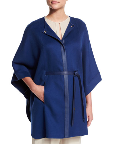 Margot Cashmere Cape Jacket, Sea Blue