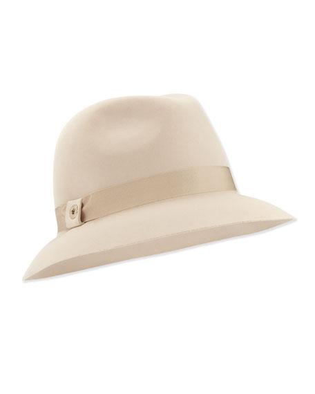 Ingrid Velvet Felt Fedora Hat, Oats