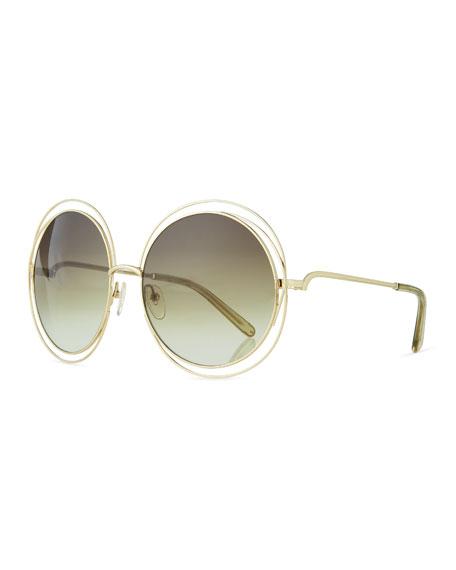 Chloe Carlina Metal Oversize Sunglasses, Golden/Green