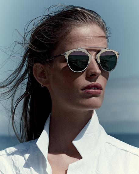 So Real Leather-Trim Metal Sunglasses