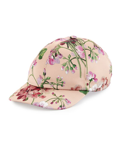 Floral Satin Baseball Cap