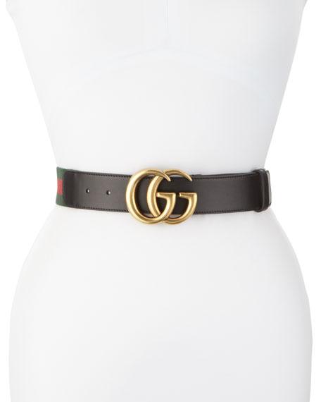 Gucci Wide Leather/Web Belt, Black