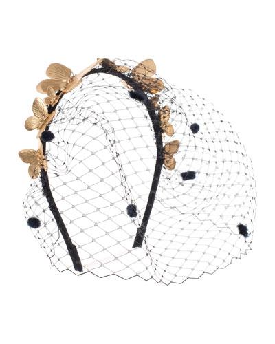 Aldora Butterfly Cocktail Headband, Gold/Black