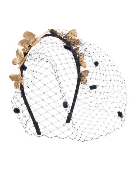 Eugenia Kim Aldora Butterfly Cocktail Headband, Gold/Black