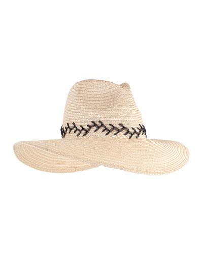 Emmanuelle Vented Wide-Brim Boater Hat, Natural