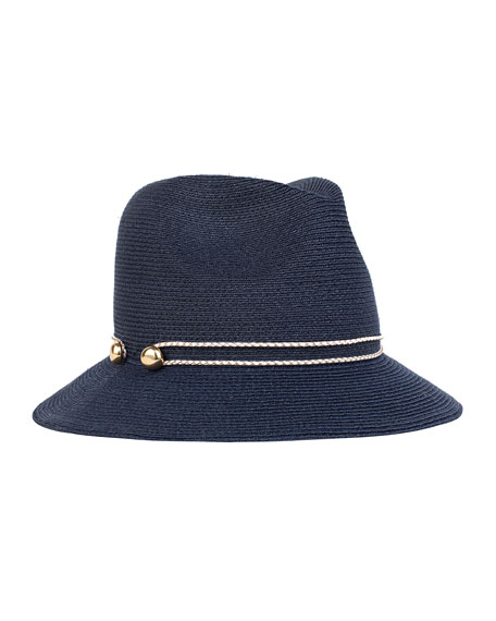 Eugenia Kim Lillian Hemp/Cotton Fedora Hat, Navy