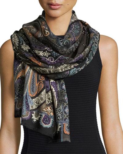 Wool-Blend Paisley-Print Scarf, Slate