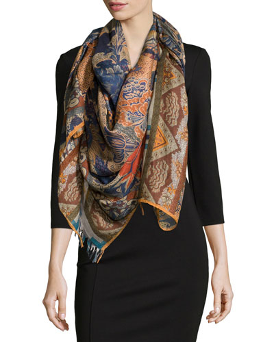 Multipattern Floral Wrap, Blue