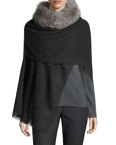 Cashmere Scarf w/ Fur Collar, Volcano