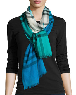 Ombre Check Scarf, Military Teal