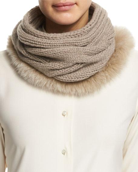Loro Piana Cashmere Fur-Trim Collar, Cord Melange