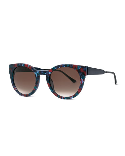 Creamily Printed Cat-Eye Sunglasses, Black/Multicolor