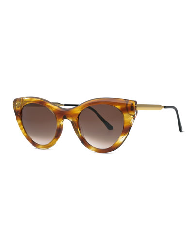 Streaked Perky Cat-Eye Sunglasses, Light Brown