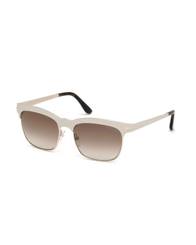 Elena Square Brow-Bar Sunglasses, Ivory