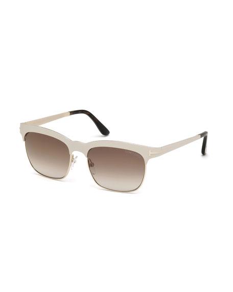 TOM FORD Elena Square Brow-Bar Sunglasses, Ivory