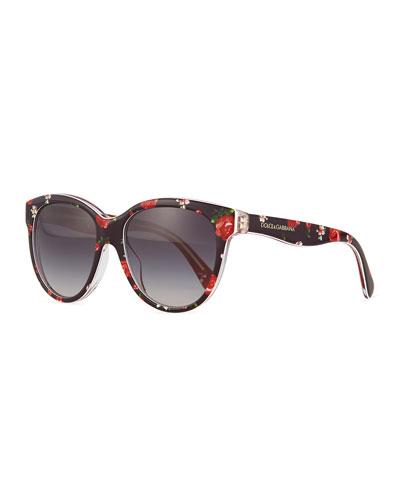 Junior Square Floral-Print Sunglasses, Black