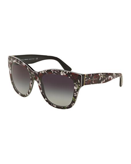 Dolce & Gabbana Square Floral-Print Sunglasses, Black/Rose