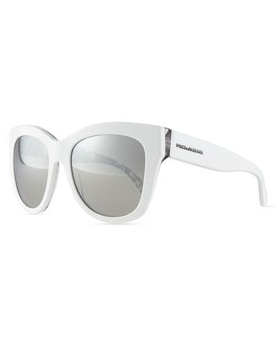 Mirrored Square Acetate Sunglasses, White