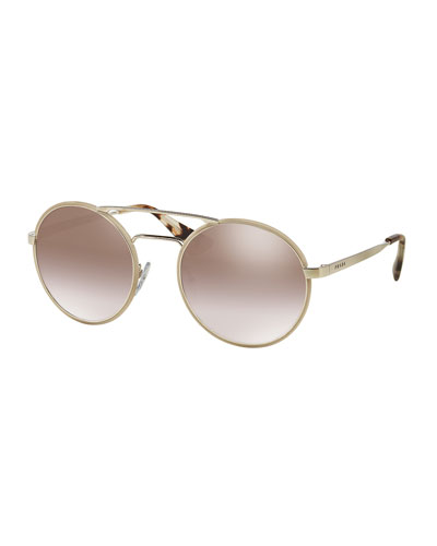 Mirrored Round Brow-Bar Sunglasses, Beige