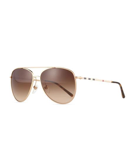 Burberry Check Aviator Sunglasses, Golden