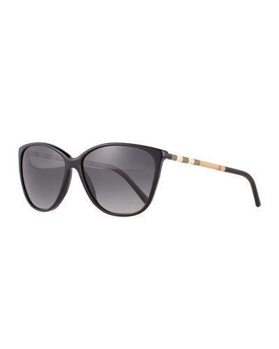 Polarized Check Square Sunglasses, Black