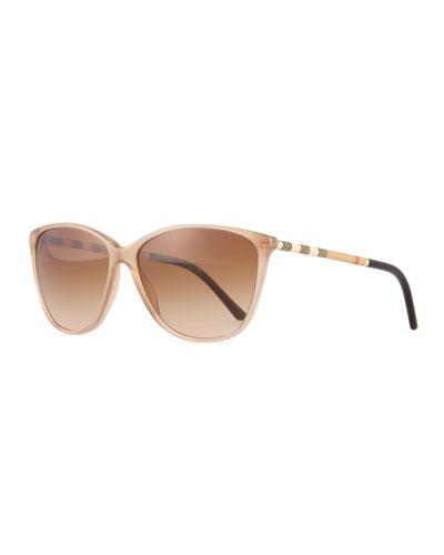 Check Square Sunglasses, Tan