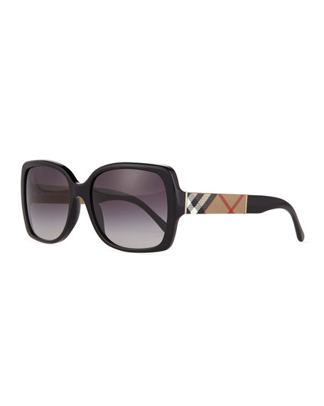 Burberry Gradient Check-Temple Square Sunglasses, Black