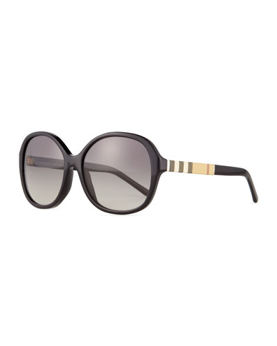 Rounded-Square Check-Trim Sunglasses, Black