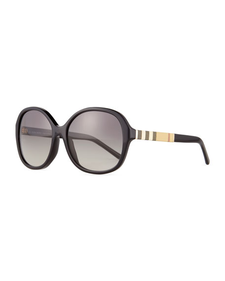 Rounded Square Sunglasses  burberry rounded square check trim sunglasses black