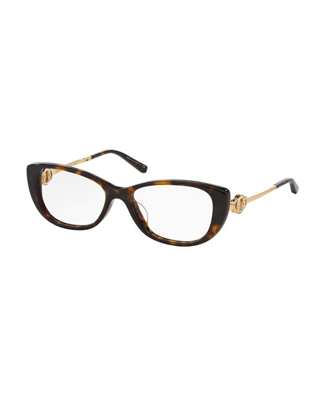 Bvlgari Acetate & Metal Cat-Eye Optical Frames, Havana