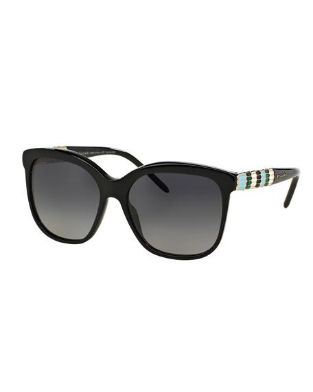 Bvlgari Square Rhinestone-Trim Polarized Sunglasses, Black