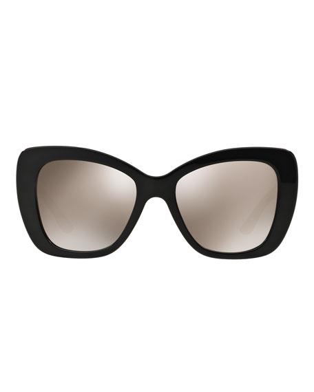 Mirrored Oversize Cat-Eye Sunglasses, Black
