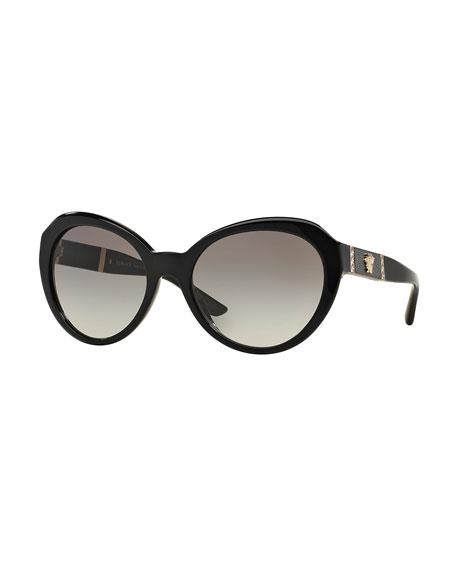Versace Round Gradient Cat-Eye Sunglasses, Black