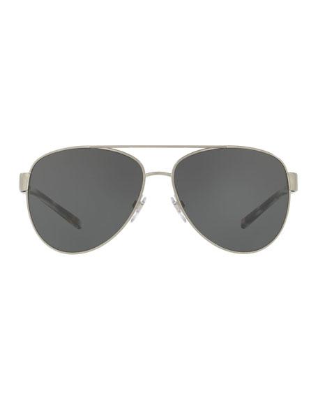 Metal Check-Trim Aviator Sunglasses, Matte Black
