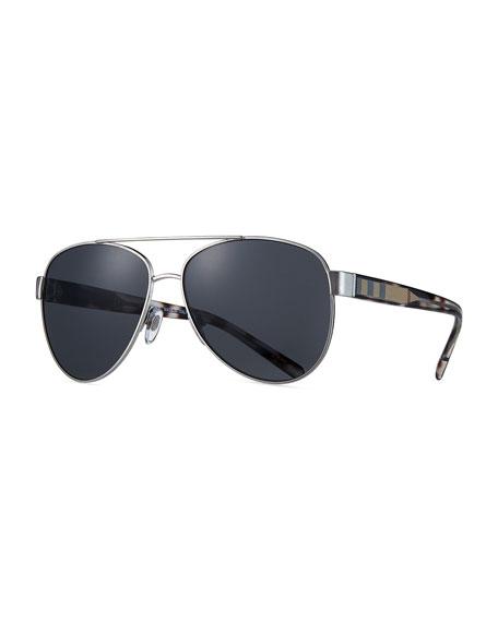 Burberry Metal Check-Trim Aviator Sunglasses, Matte Black