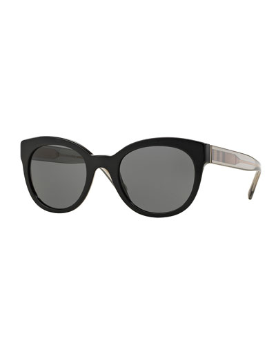 Round Check-Trim Cat-Eye Sunglasses, Black