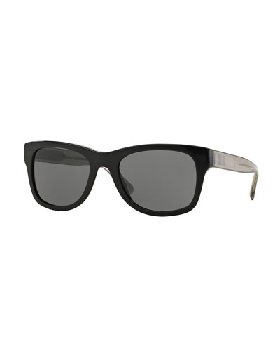 Square Check-Trim Colorblock Sunglasses