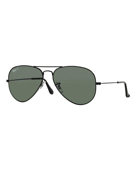 Ray-Ban Metal Polarized Aviator Sunglasses, Black