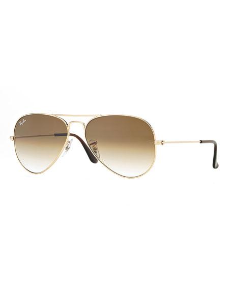 Metal Aviator Sunglasses, Gold/Light Brown