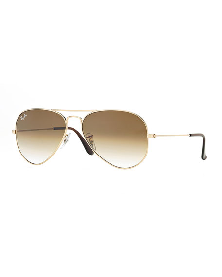 Ray-Ban Metal Aviator Sunglasses, Gold/Light Brown