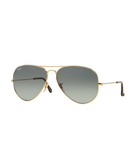 Ray-Ban Metal Aviator Sunglasses, Gold/Gray