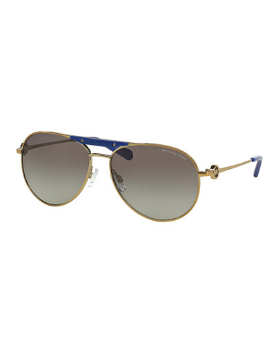Gradient Contrast-Trim Aviator Sunglasses, Gray/Golden/Blue